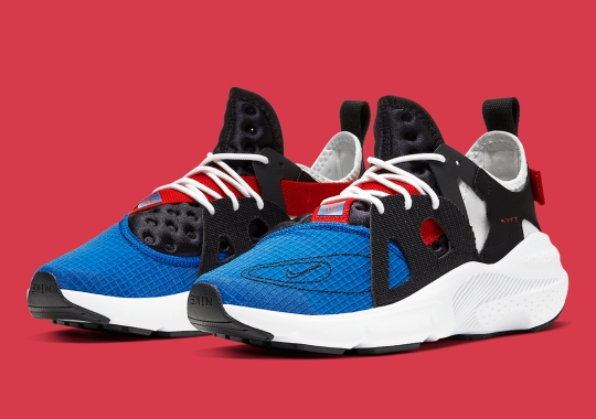 "The Nike Huarache Type Emerges In ""Spider-Man"" Colors"