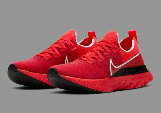 The Nike Infinity React Run Appears In A Daring University Red Colorway