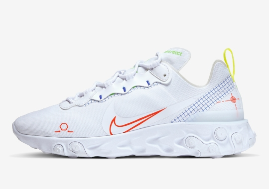 "The Nike React Element 55 ""Schematic"" Adds Neon Touches On A White Base"