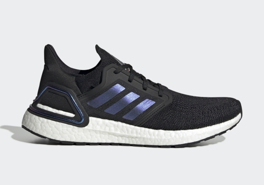 """The adidas Ultra Boost 20 """"Core Black"""" Adds Violet Stripes"""
