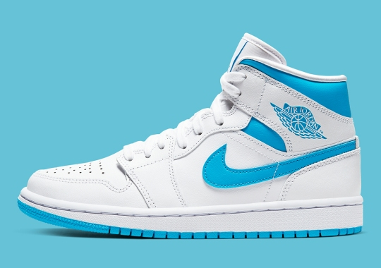 The Air Jordan 1 Mid Changes Up The Metallic Color Blocking With UNC Blue