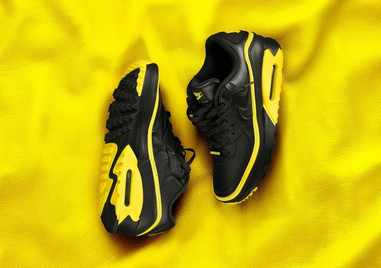 Official Images Of The UNDEFEATED x Nike Air Max 90 In Black/Opti Yellow