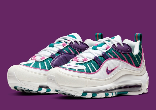 The Nike Air Max 98 For Women Adds A Mixed Palette Of Teal, Purple, And Pink