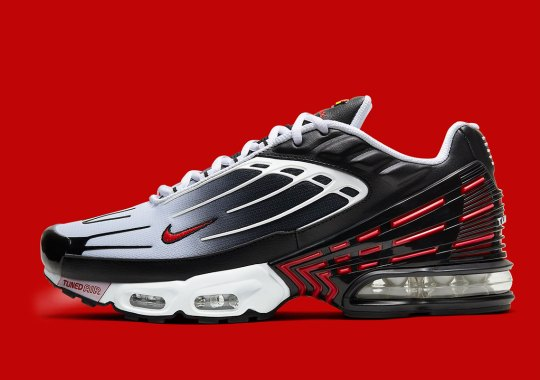 The Nike Air Max Plus 3 Gets A Black, Red, And White Makeover