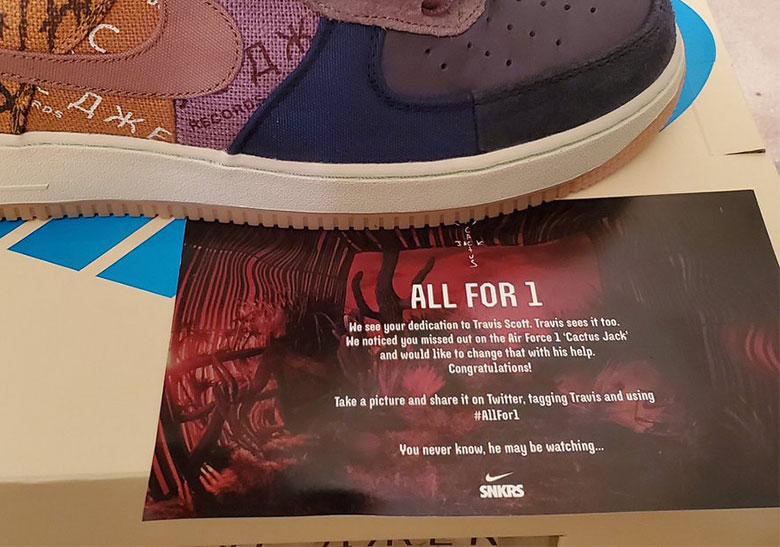 Nike Sends Free Travis Scott AF1s to SNKRS User   SneakerNews.com