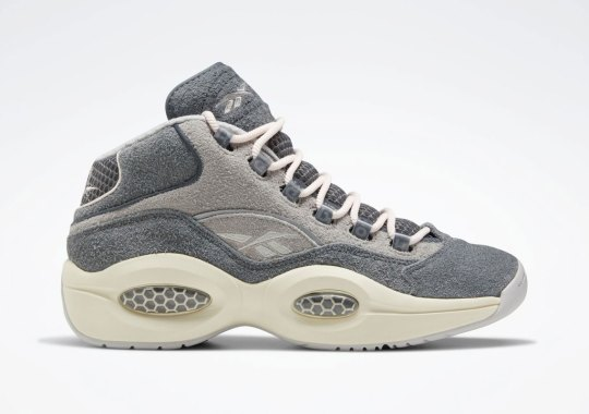 The Reebok Question Mid Returns In A Buttery Grey Suede