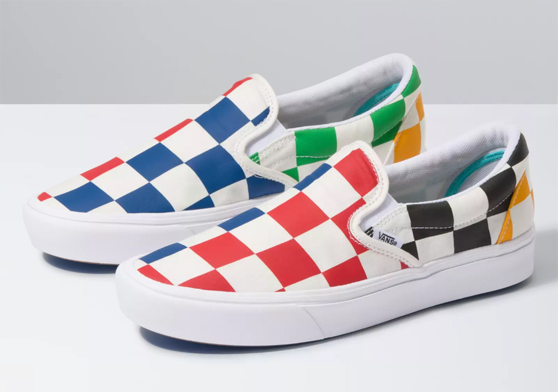 multi colored vans slip on