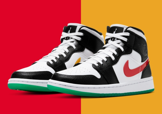 This Air Jordan 1 Mid Alternates Red And Yellow Swooshes