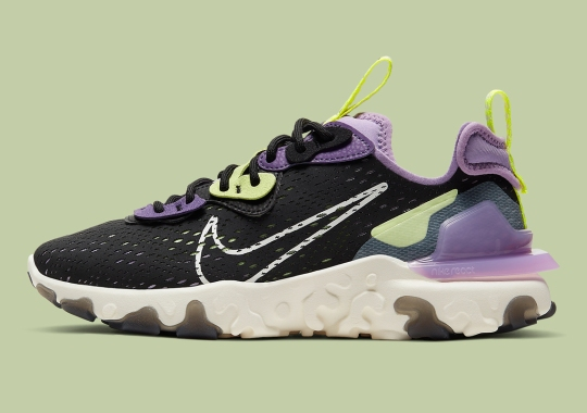 "The Nike React Vision Gets A Makeover In Black, Purple, and ""Barely Volt"""