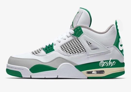 "Details Of An Upcoming Air Jordan 4 ""Pine Green"" Emerge"