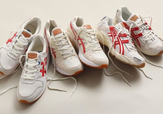 "The ASICS ""Retro Tokyo"" Pack Dressed Three Runners In Cream And Red"