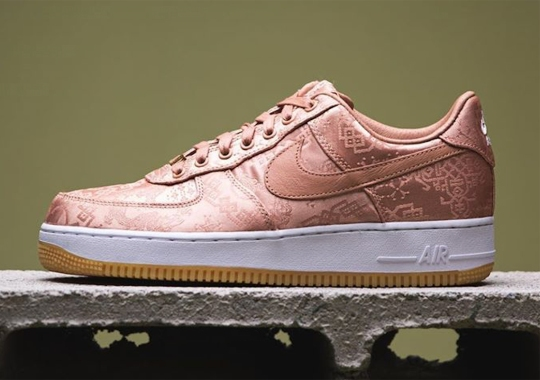 "Detailed Look At The CLOT x Nike Air Force 1 Low ""Rose Gold Silk"""