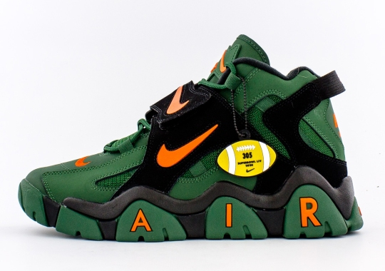 "The Nike Air Barrage Mid ""Super Bowl LIV"" Is Inspired By The Miami Hurricanes"