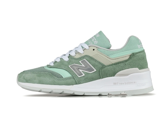The New Balance 997 Made In USA Gets Minty Green Suede Uppers