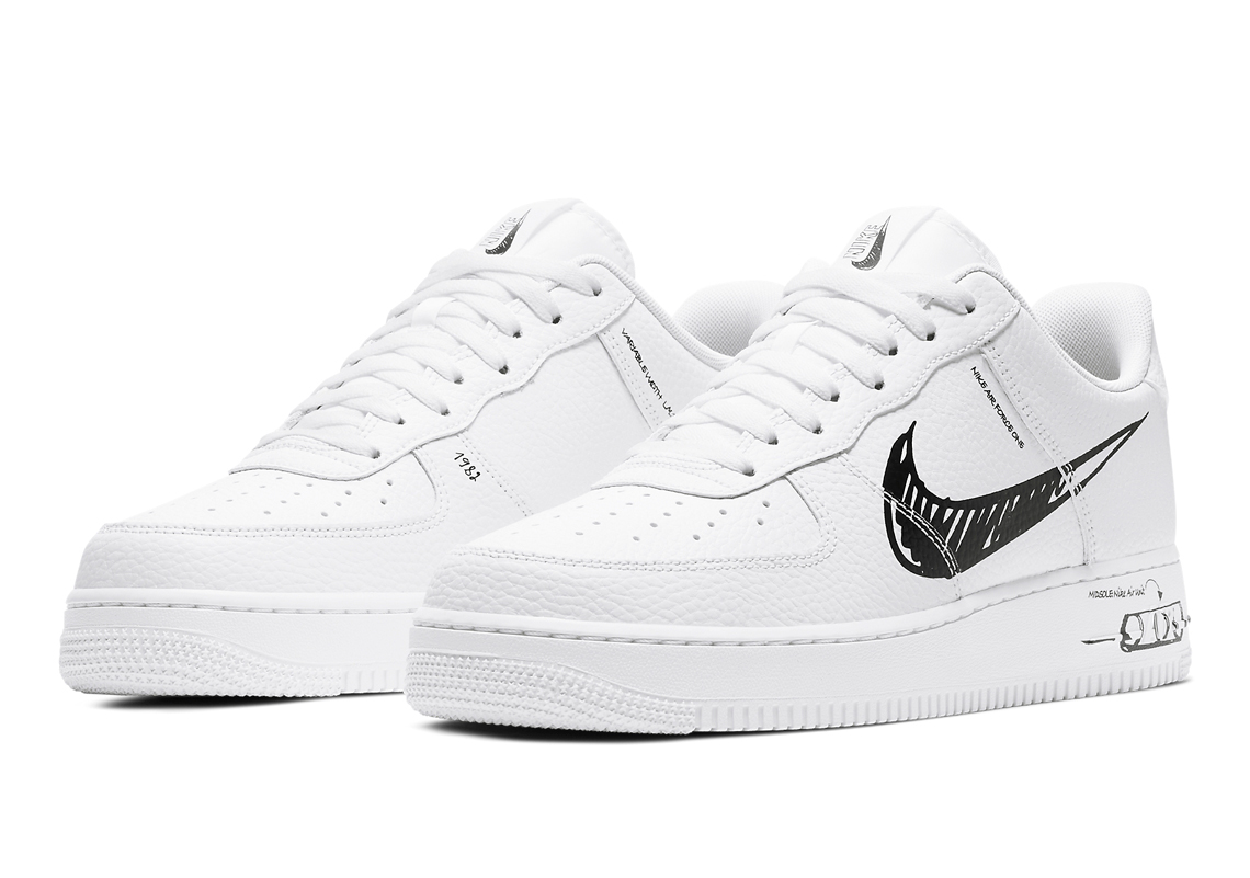 nike air force 1 white black swoosh