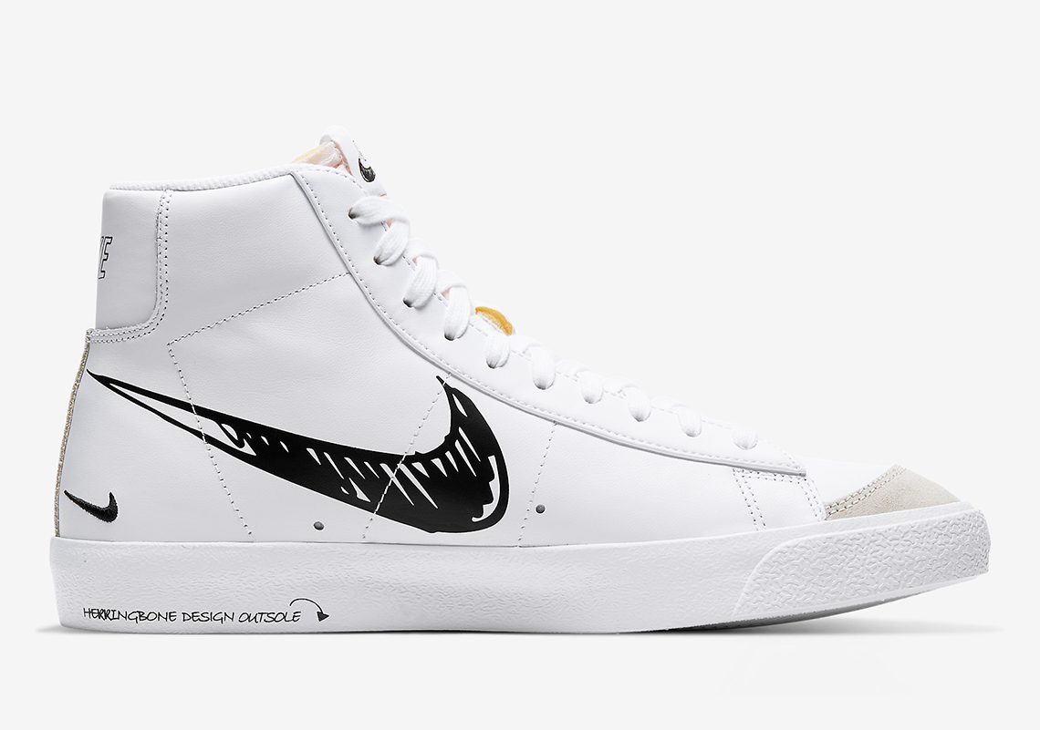 Nike Blazer Mid Sketch Black Red CW7580-101 CW7580-100 ...