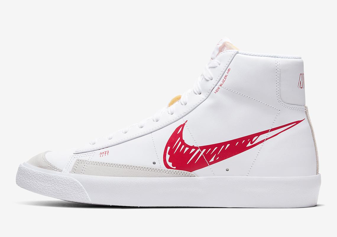 Nike Blazer Mid Sketch Black Red CW7580-101 CW7580-100 Release ...