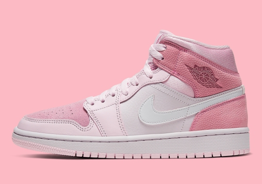 Basketball Leather Appears On This Air Jordan 1 Mid in Pink Tones