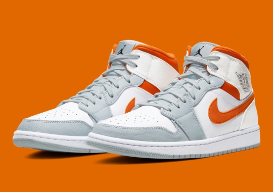 The Air Jordan 1 Mid Surfaces In Starfish Orange And Pure Platinum