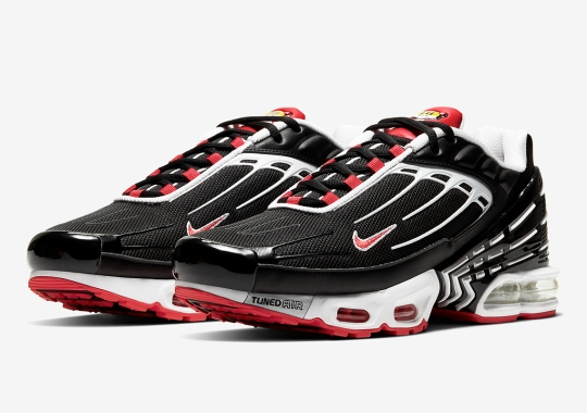 The Nike Air Max Plus 3 Appears In A Classic Black, Red, And White Scheme