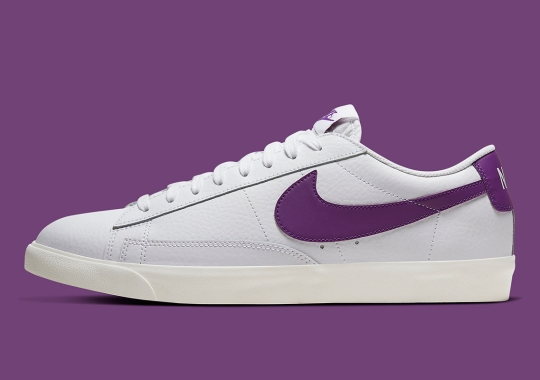 Purple Swooshes Appear On The Nike Blazer Low Leather