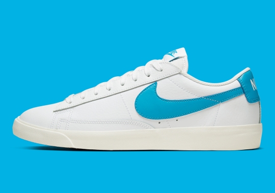 The Nike Blazer Low Leather Tacks On A UNC Blue Swoosh