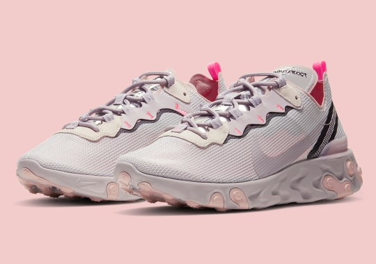 A Soft Platinum Violet Appears On The Nike React Element 55