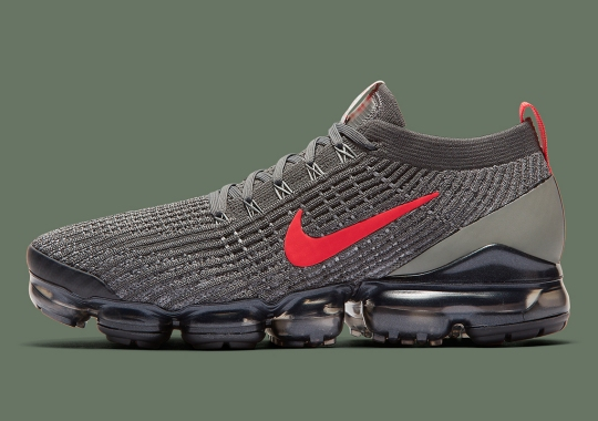 The Nike Vapormax Flyknit 3 Adds Crimson Against A Dark Olive Knit