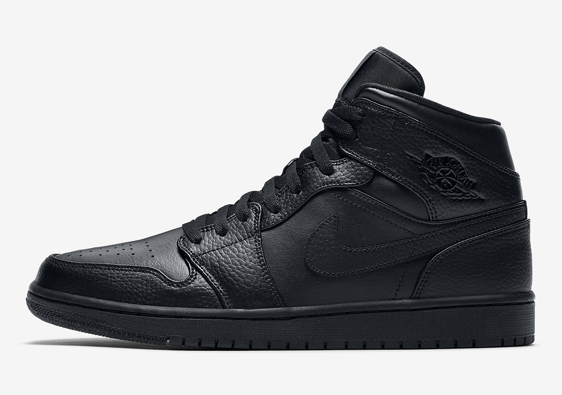Air Jordan 1 Mid Triple Black 554724