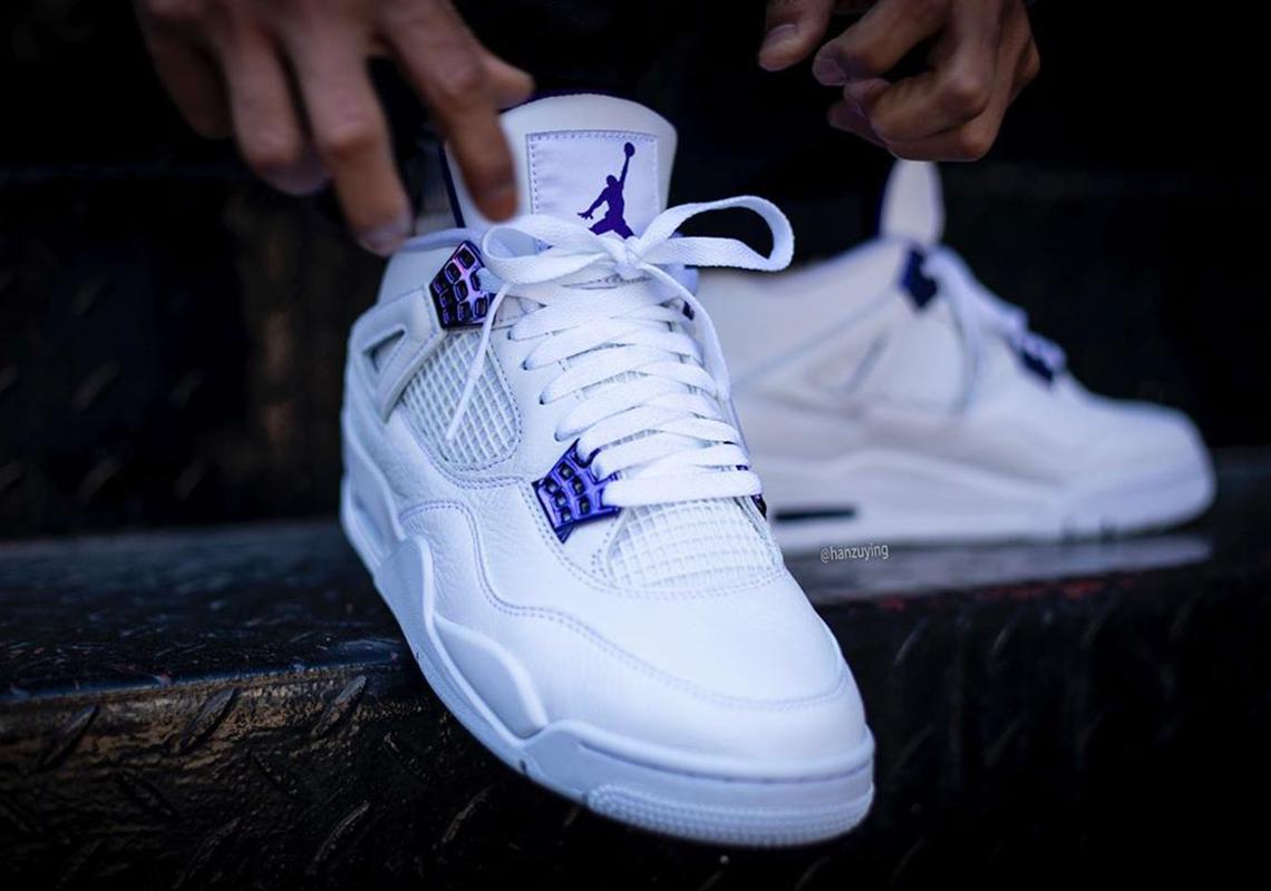 white and purple air jordans