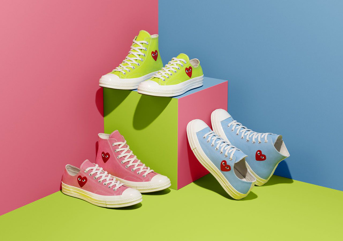 implicar Diversidad Incomodidad  CDG PLAY Converse Chuck 70 Pink Blue Green Release Date | SneakerNews.com
