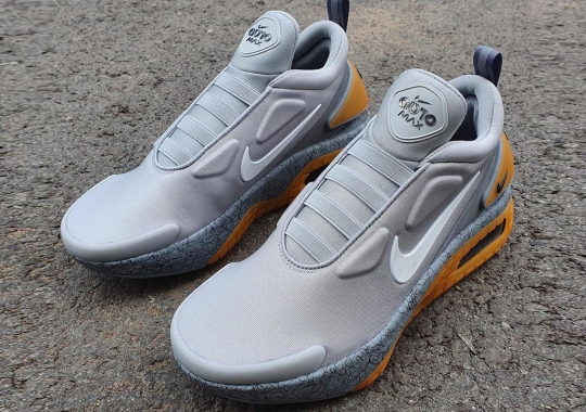 The Nike Adapt Auto Max Appears In A Grey And Yellow Colorway