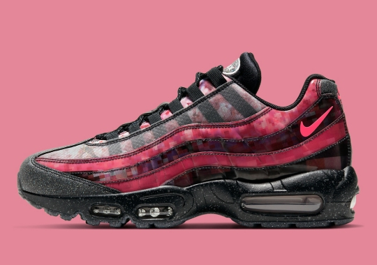 Cherry Blossoms And Pixelated Patterns Cover This Nike Air Max 95 PRM For Women