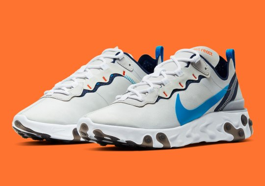 "The Nike React Element 55 ""Light Silver"" Accents Perfectly With Blue And Orange"