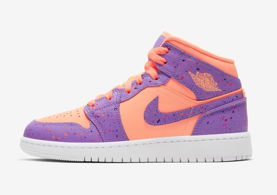 "The Air Jordan 1 Mid For Girls Arrives In ""Atomic Pulse"" Speckling"