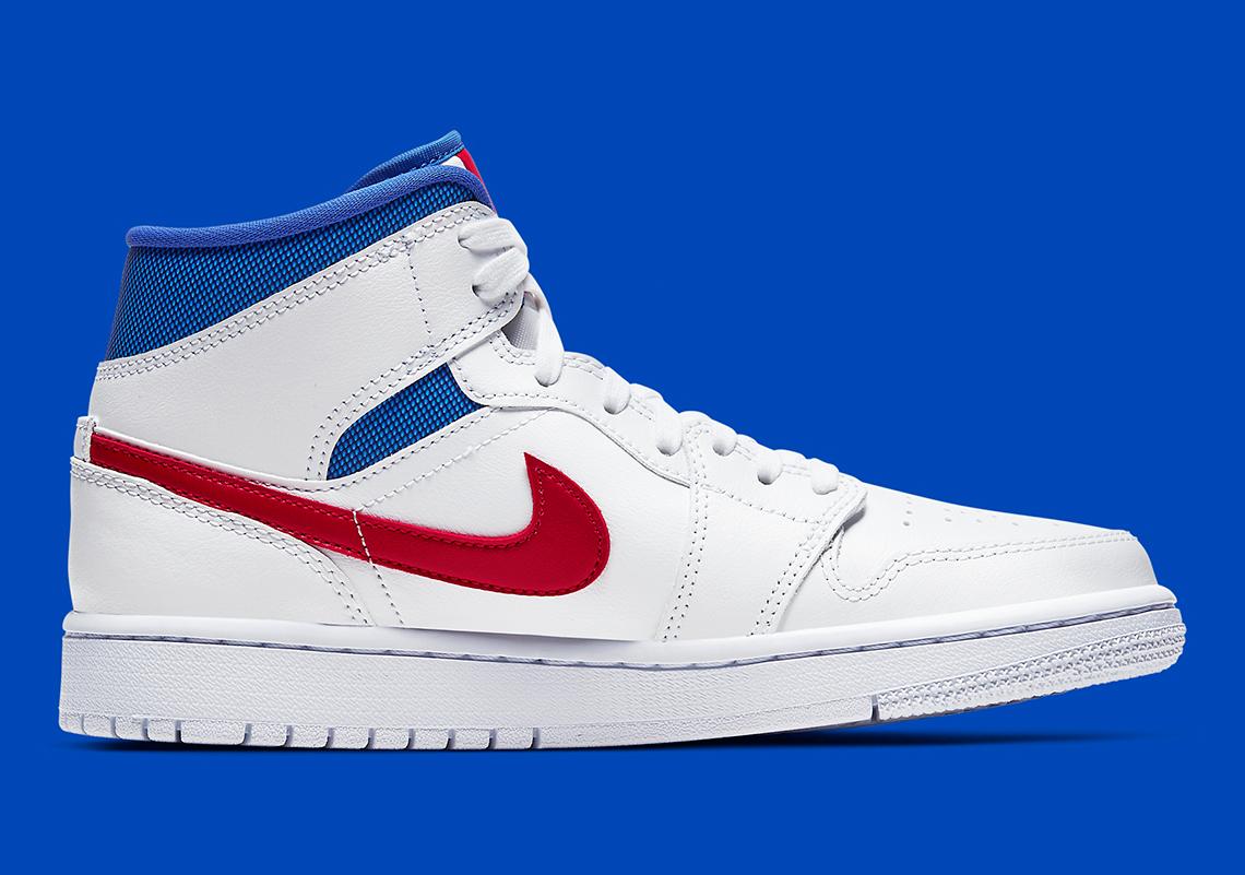 Air Jordan 1 Mid White Blue Red Bq6472 164 Sneakernews Com