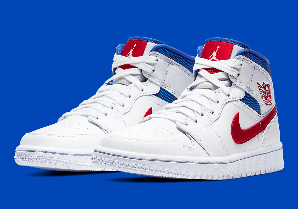Air Jordan 1 Mid White Blue Red BQ6472-164 | SneakerNews.com