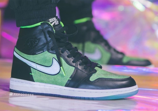 Detailed Look At The Air Jordan 1 High Zoom In Black And Green