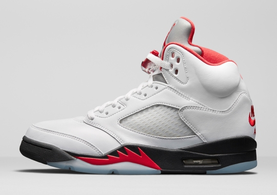 "Official Images Of 2020's Air Jordan 5 ""Fire Red"""