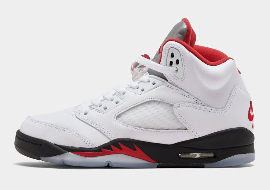 The Original Air Jordan 5 In Fire Red And Metallic Silver Is Arriving In Kids Sizes