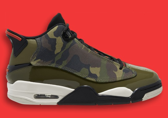 The Jordan Dub Zero Pairs Camo And Patent Leather For Flashy Military Themes