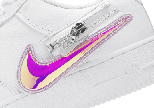 Nike Adds An Iridescent Removable Swoosh On The White Air Force 1
