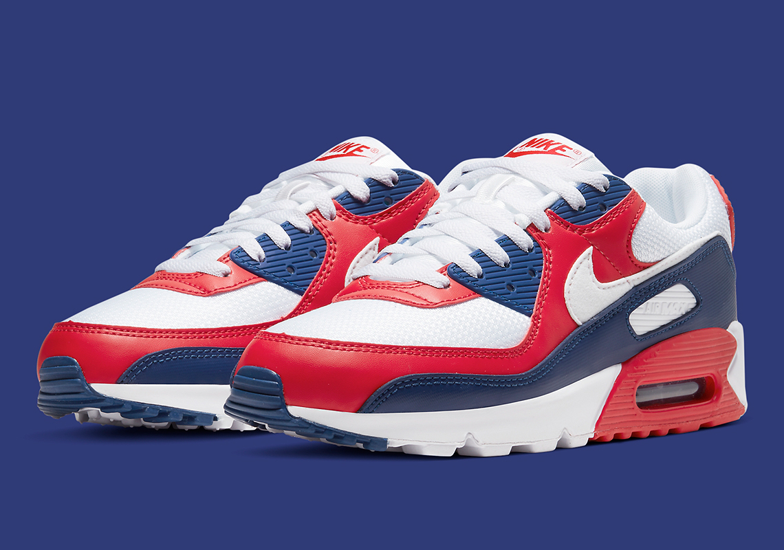 white and navy blue air max 90