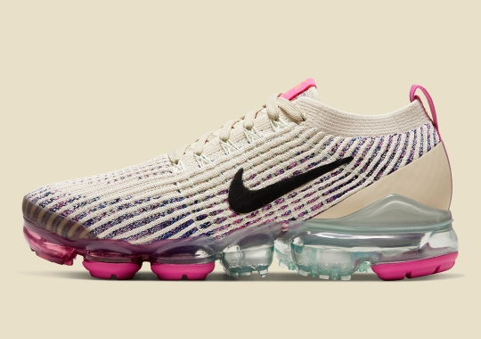 The Nike Vapormax Flyknit 3 Adds Fossil-Toned Knits And Pink Flash Accents