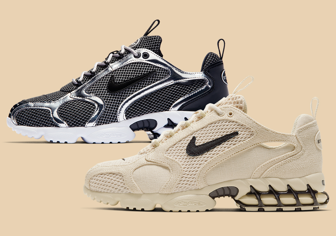 Stussy Nike Zoom Spiridon Caged Fossil Pure Platinum Infos