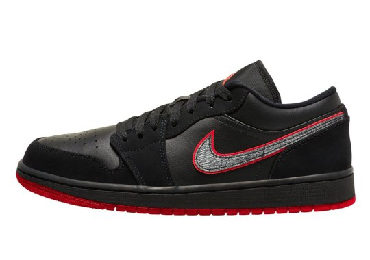 "The Air Jordan 1 Low ""Bred"" Emerges With Cement Print Swooshes"