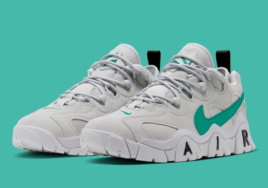 The Nike Air Barrage Low Applies Neptune Green Swooshes To Grey Fog Uppers
