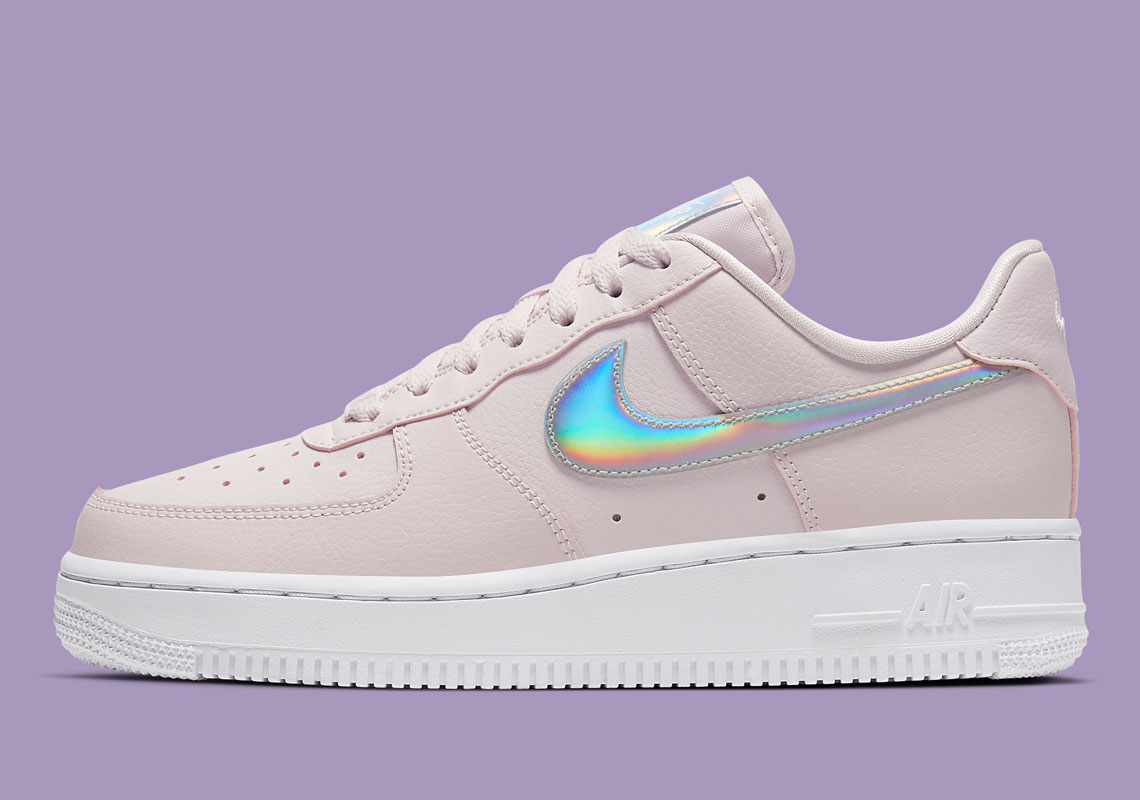 "Nike's Air Force 1 Low With Iridescent Swooshes Gets A ""Barely Rose"" Tint"