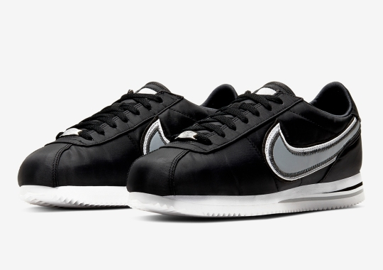 Nike Adds Contrast Stitching To A Black And White Cortez