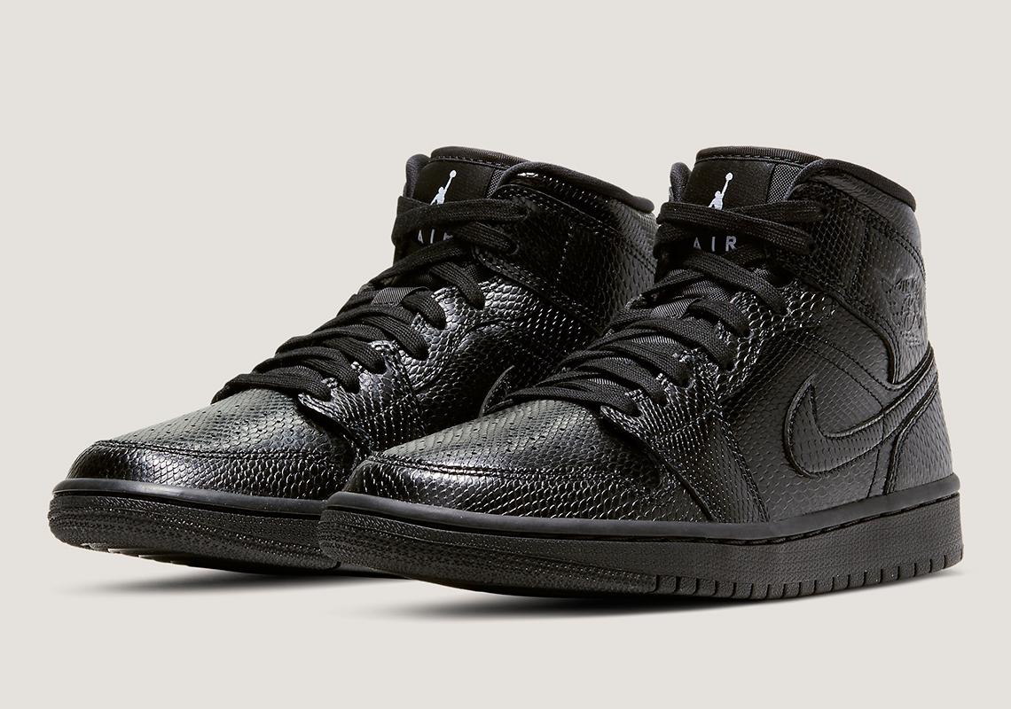 Air Jordan 1 Mid Black Snakeskin BQ6472-010   SneakerNews.com